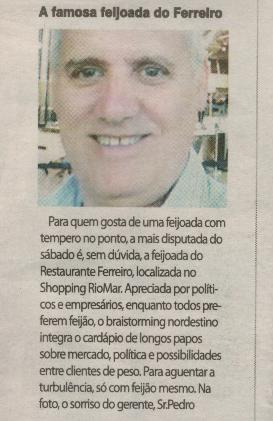 Correio de Sergipe 03-12-2016 - artigo sibre Ferreiro Grill Aracaju
